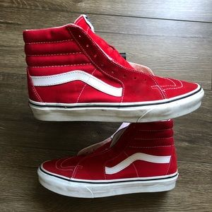Vans SK8-HI Sneakers Racing Red Suede Sz 8.5